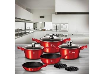Набор посуды 10 пр. из кован.алюм: 3 Кастрюли со стекл. крышками, сковорода и сотейник.Цвет красный