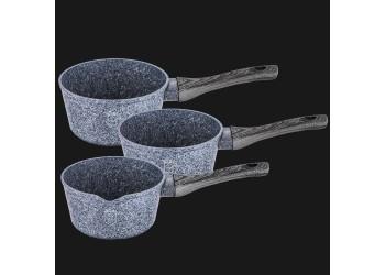 Ковш 1,2 л из кованого алюминия, (Ø16×7,5 см) 3-х слойное гранитное антипригарное покрытие, ручка по