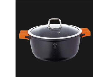 Кастрюля 8,5 л. (Ø32xh14,6см)с крышкой,черная с оранжевыми съемными ручками