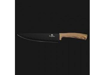 Нож поварской 20 см из нерж.стали с антиприг. покрытием. Цвет черный/светлое дерево
