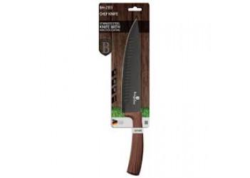 Нож поварской 20 см из нерж.стали с антиприг. покрытием. Цвет черный/темное дерево