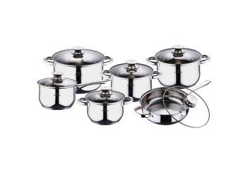 Набор посуды 12 пр.из нерж.стали ковш:4 кастрюли, ковш и сковорода со стекл. крышками.Цвет серебро