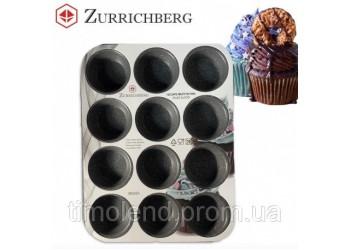 Формы для выпекания 12 кексов  35 × 26,5 x 3 см. Материал : углеродистая сталь с мраморным покрытием