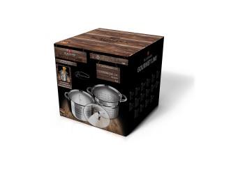 Набор посуды 3 пр, кастрюля из нержавеющей стали Ø20x16 см, кастрюля для варки пасты  Ø20x17, стекля