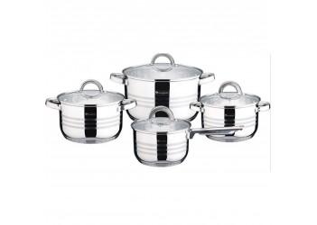 Набор посуды 27 пр. из нержавеющей стали.  Ковш 1,9 л (Ø16×9,5 см), кастрюли со стеклянными крышками
