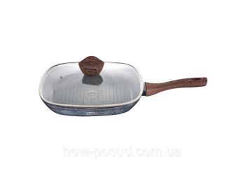 Сковорода-гриль 28х28 см из кованого алюминия, ручка под дерево SOFT TOUCH, 3-х слойное гранитное ан