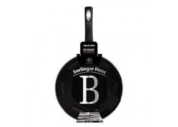 Сковорода -флип Ø26 см из кован. алюм., мраморное покрытие.Цвет черный/серебро