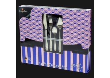 Набор столовых приборов 24 пр. из нерж.стали, зеркальн.полировка, с матовыми элем. Цвет серебристый.