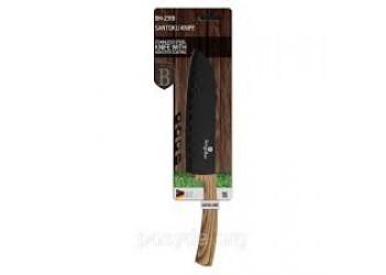 Нож Santoku 17,5 см из нерж.стали с антиприг. покрытием, черный/светлое дерево