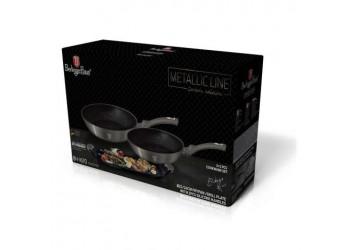 Набор посуды 3+2 пр.из кован. алюм.: 2 сковороды Ø26см. и Ø22см.;гриль-панель.Цвет черный