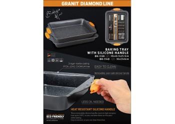 Набор прямоугольных форм для выпечки 36x23см и 40,5x25,5см, съемные силиконовы8 ручки.Черн/оранж