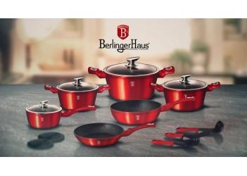 Набор посуды 15 пр. из кован.алюм:  Ковш и 3 кастрюли со стеклян. крышками,сотейник и сковор.Красный