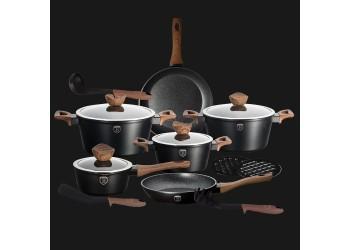 Набор посуды 15 пр. из кован.алюм:  Ковш и 3 кастрюли со стеклян. крышками,сотейник и сковор.BH 1537