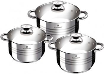 Набор посуды 6 пр из нерж.стали: 3 кастрюли со стекл. крышками 3,9л., 2,5л.и 2,1л.Цвет серебро