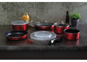Набор посуды 12 пр. из кованого алюминия. Ковш 16*7,5 cm 1,2 л, ковш 18*7,9 cm 1,7 л с крышкой,  ков