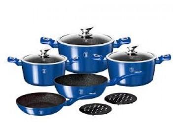 Набор посуды 10 пр. из кован.алюм: 3 Кастрюли со стекл. крышками, сковорода и сотейник.Цвет синий
