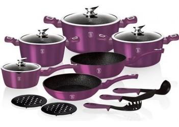 Набор посуды 15 пр. из кован.алюм:  Ковш и 3 кастрюли со стеклян. крышками,сотейник и сковор.Фиолет.