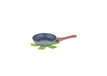 Сковорода  Ø24*4,8 см из кован. алюм., антипригарное покрытие. Цвет серый/темн.дерево