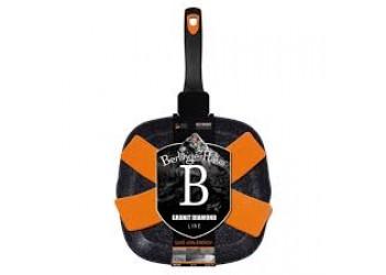 Сковорода-гриль 28*28*4,1 см  из кован. алюминия, со сливным носиком. Цвет черный/оранж.