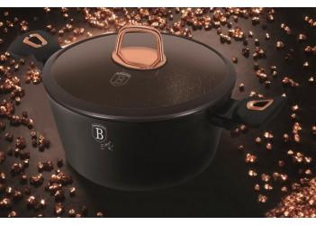 Кастрюля 2,5 л. (Ø20x10,4 см) черная,со стеклянной крышкой,ручки под розовое золото