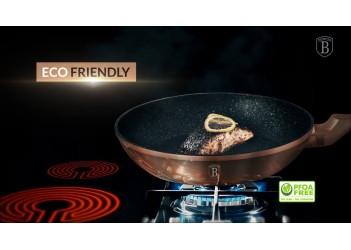 Набор сковород 3 пр.из кован.алюм: Ø20x4,5см., Ø24x4,8см.и 28*28см. Цвет розовое золото.
