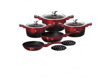 Набор посуды 10 пр. из кован.алюм: 3 Кастрюли со стекл.крышками,сковорода и сотейник.Цвет красн/черн