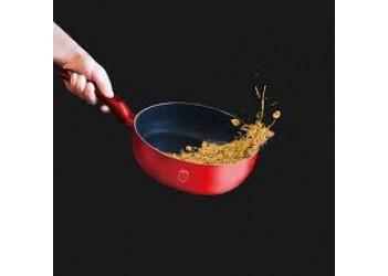 Сковорода -флип Ø26 см из кован. алюм., мраморное покрытие.Цвет красный